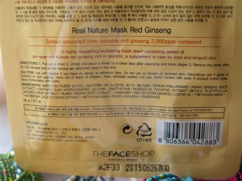 Sho Natur Gingseng real nature mask ginseng images