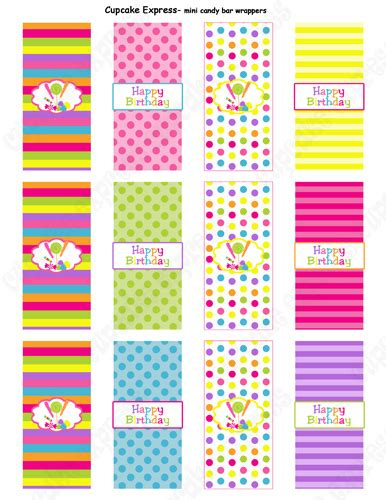 candy shoppe printable mini candy bar wrappers