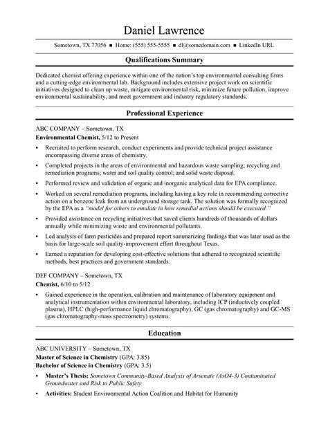 Mid Level Resume by Midlevel Chemist Resume Sle