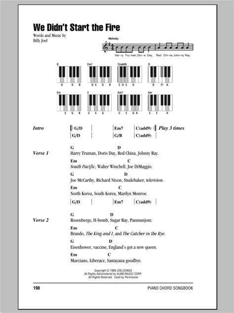 printable lyrics to didn t i walk on the water we didn t start the fire sheet music direct