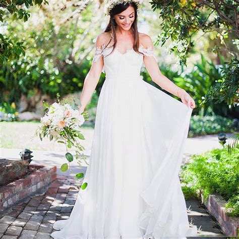 rustic country style wedding dress simple sweet bridal dress chiffon to wedding