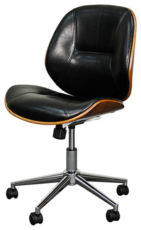 modern desk chair noelle office chair black and walnut modern office chairs by new pacific direct inc