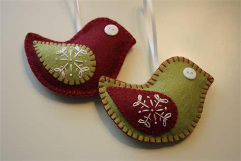 felt christmas bird ornaments decorations