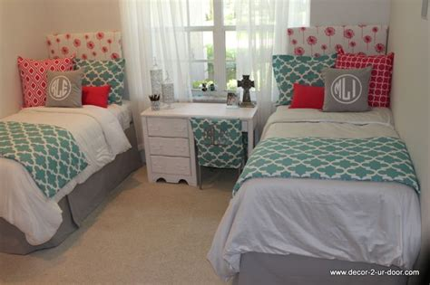 college dorm comforter custom dorm bedding in aqua and hot pink with gray accents