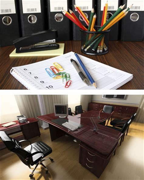 desks chairs lighting office supplies paper pens