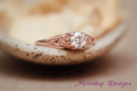 14k gold and moissanite dainty filigree engagement