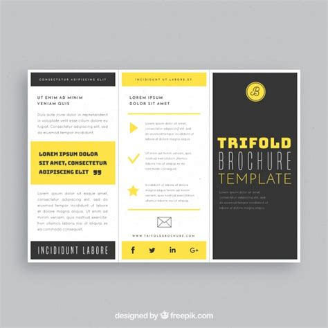 brochure template yellow black and yellow trifold business brochure template vector