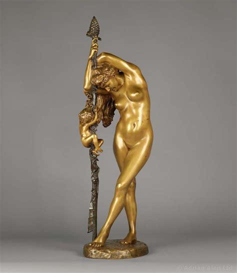 bacchante  lamour bronze sculpture  jean leon