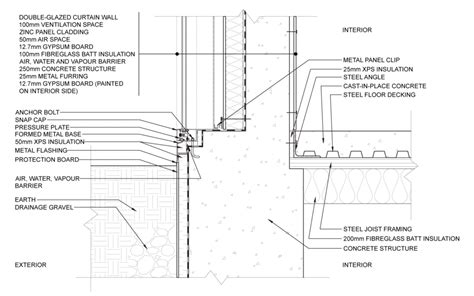 curtain wall foundation detail exterior wall construction details installation details