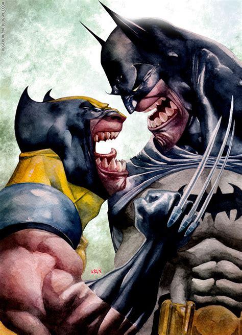 imagenes de batman vs wolverine geek art batman and wolverine growling it out geektyrant