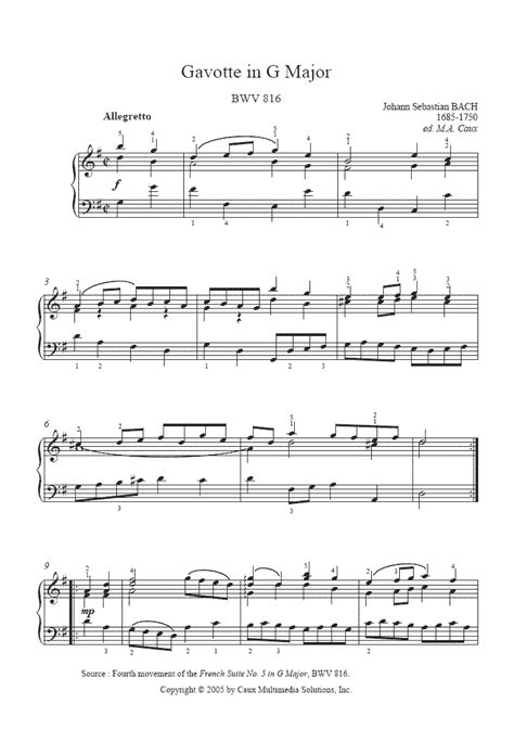 gavotte song in the musical based on george bernard shaws pygmalion and the 1964 film adaptation of the same name bach gavotte bwv 816 sheetmusic2print com