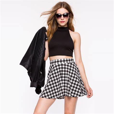 Plain Pleated Mini Skirt womens summer black white houndstooth tennis high waist