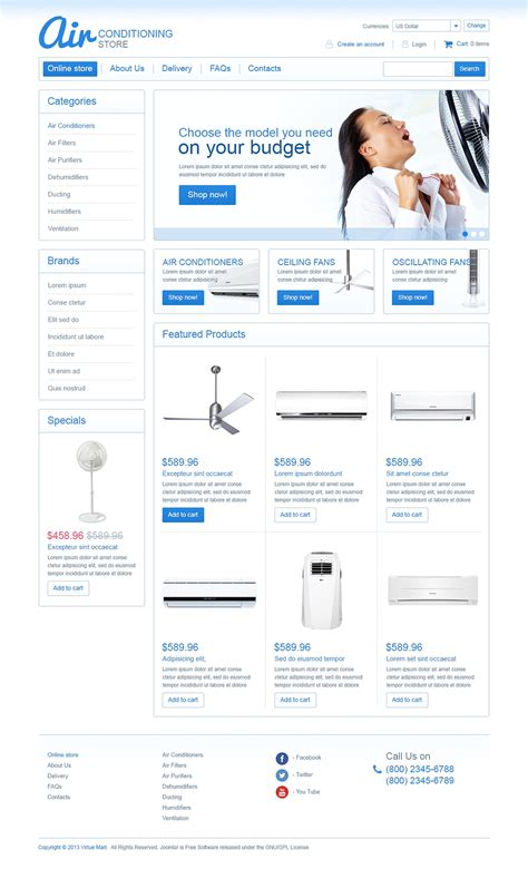 virtuemart templates air conditioning store virtuemart template web design