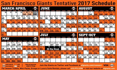 printable schedule for sf giants 2017 san francisco giants baseball almost here wine