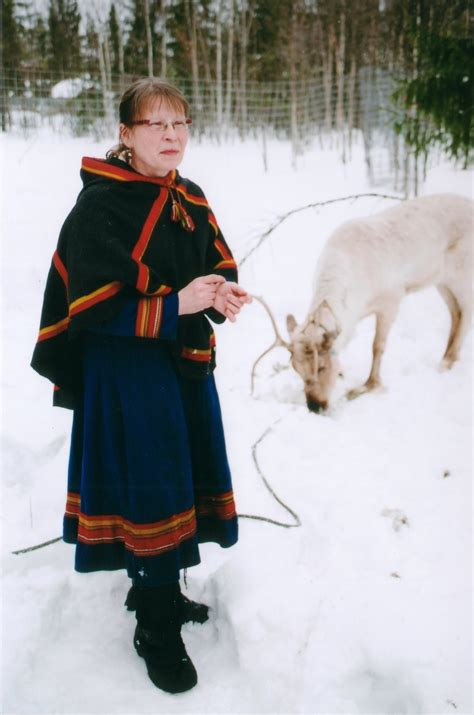 white in swedish file sami woman with white reindeer jpg wikimedia commons