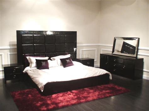modern bedroom set glam black
