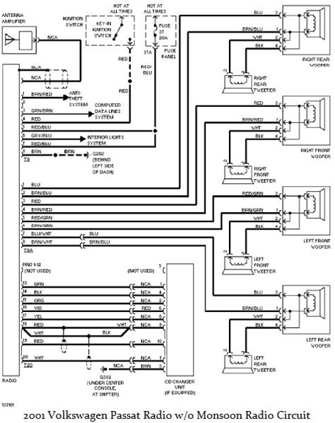 volkswagen passat radio circuit diagram w o monsoon radio