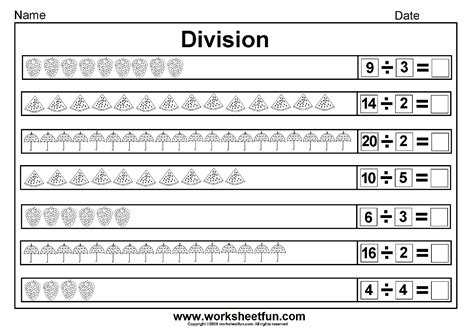 printable division by 10 worksheets division sharing equally picture division 14