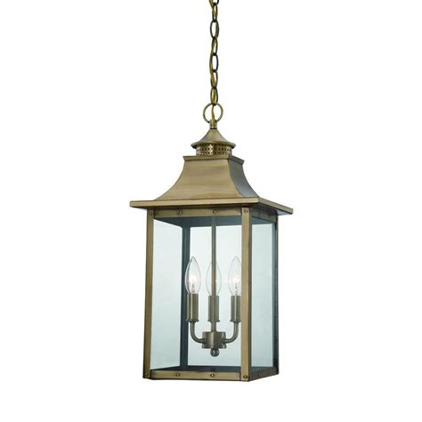Hanging Outdoor Lighting Fixtures Acclaim Lighting St Charles Collection Hanging Outdoor 3 Light Aged Brass Light Fixture 8316ab