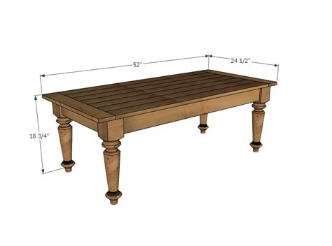 average coffee table size ana white turned leg coffee table diy projects