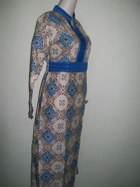 gamis batik modern bahan katun model ber smok karet di