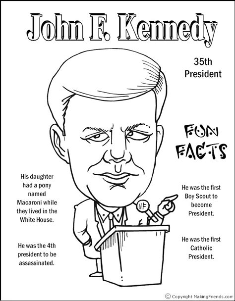 john f kennedy coloring pages coloring pages