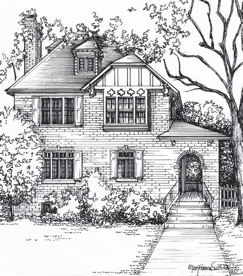 custom house sketch home portrait in ink