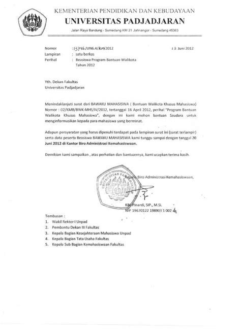 format surat pengunduran diri beasiswa beasiswa bantuan wali kota khusus bawaku mahasiswa untuk