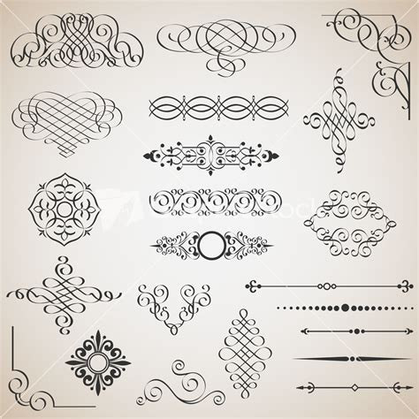 Stock Vector Calligraphic Design Elements Download | vector set of calligraphic design elements stock image