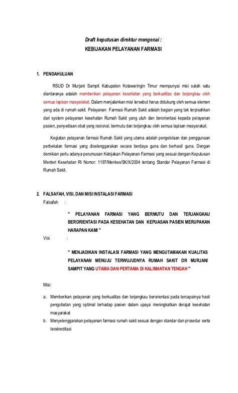 3 draft keputusan direktur mengenai kebijakan pelayanan farmasi