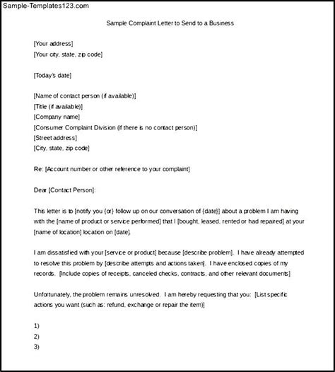 Complaint Letter Format To Company Sle Complaint Letter To Send To A Business Sle Templates