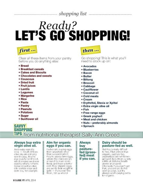 printable shopping list south africa shopping list for banting enthusiasts ready steady go