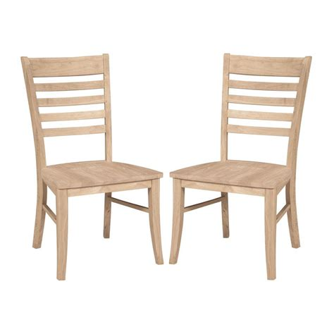 Wood Dining Chairs Unfinished International Concepts Roma Unfinished Wood Ladder Back Dining Chair Set Of 2 C 310p The