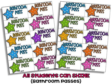 bathroom pass ideas bathroom passes all students can shine