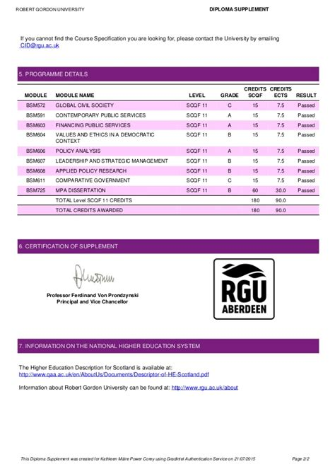 U Of R Mba Requirements by Mpa Diploma Supplement Rgu