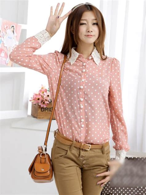 Blouse Korea Sale Korea Stylish Turn Collar Sleeve Dots
