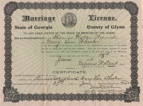 Ga Marriage License Records Miscellaneous Marriage License Images Glynn Co