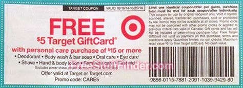 Target Gift Card Ideas - 5 00 target gift card with personal care purchase deal ideas