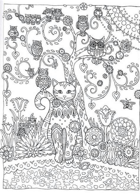 abstract cat coloring pages cat owl flower abstract doodle zentangle paisley coloring