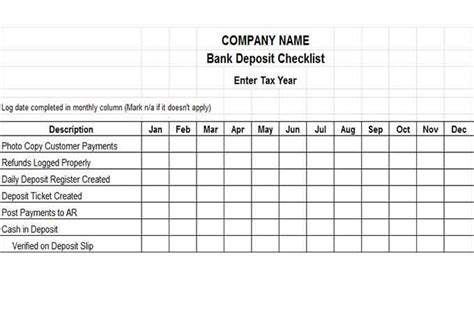 bank deposit log template and banking controls vitalics