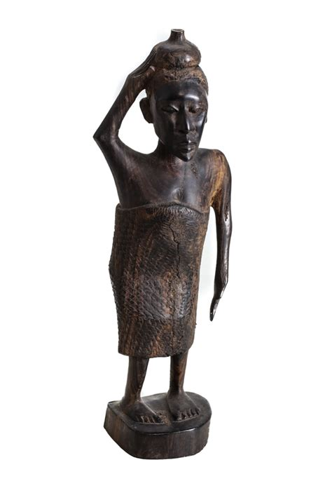 figure carrying hardwood figure carrying vessel