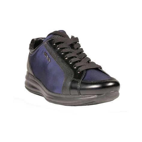 womens navy sneakers prada womens spazzolato ba navy nero laced black