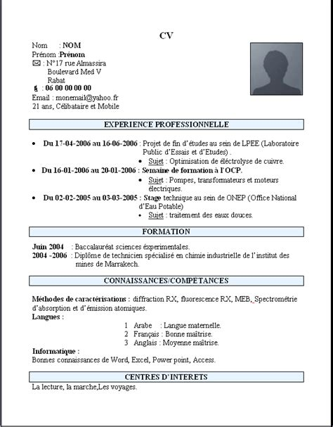 Exemple De Lettre De Motivation Maroc Exemple De Cv Simple Maroc Lettre De Motivation 2017