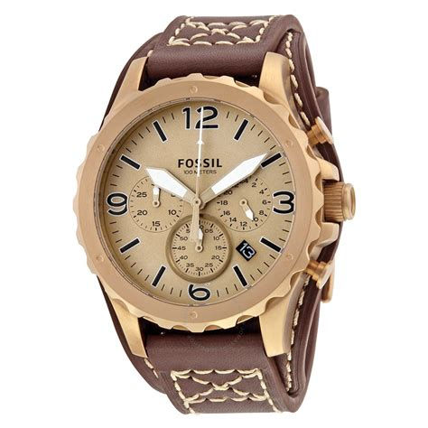 Fossil Jr 1390 Original Leather fossil nate gold tone chronograph brown leather s jr1495 nate fossil watches