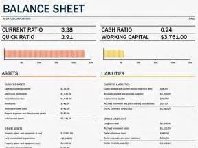 Business Balance Sheet Exle by Balance Sheet With Working Capital Office Templates