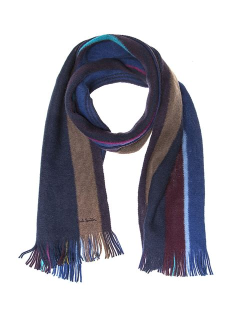 paul smith reversible stripe scarf in blue for navy