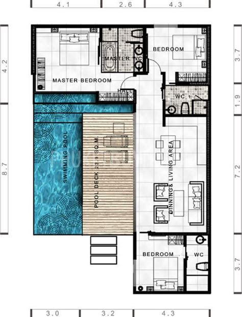 camden pool house floor plan lay4524 tropical modern villa with 3 bedrooms phuket