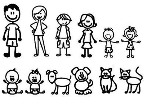 Me & My Peeps Stick Figure Family White Decals 4 Boys 1