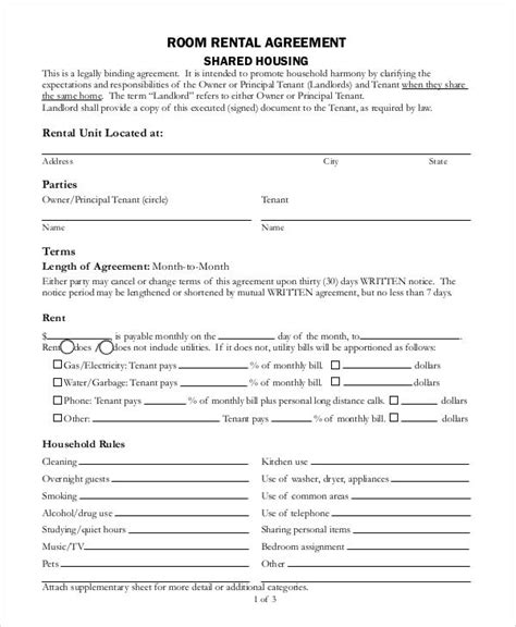 Sle Agreement Letter For Room Rental 36 sle agreement forms sle templates