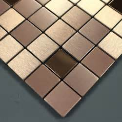 brushed metallic mosaic tiles stainless steel kitchen